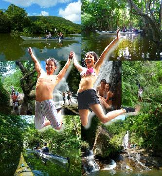 ナーラの滝と仲良川 西表島マングローブカヌー&トレッキングツアー