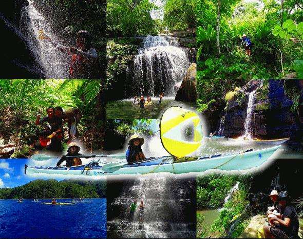 水落の滝シーカヤックと秘境の滝へのトレッキング